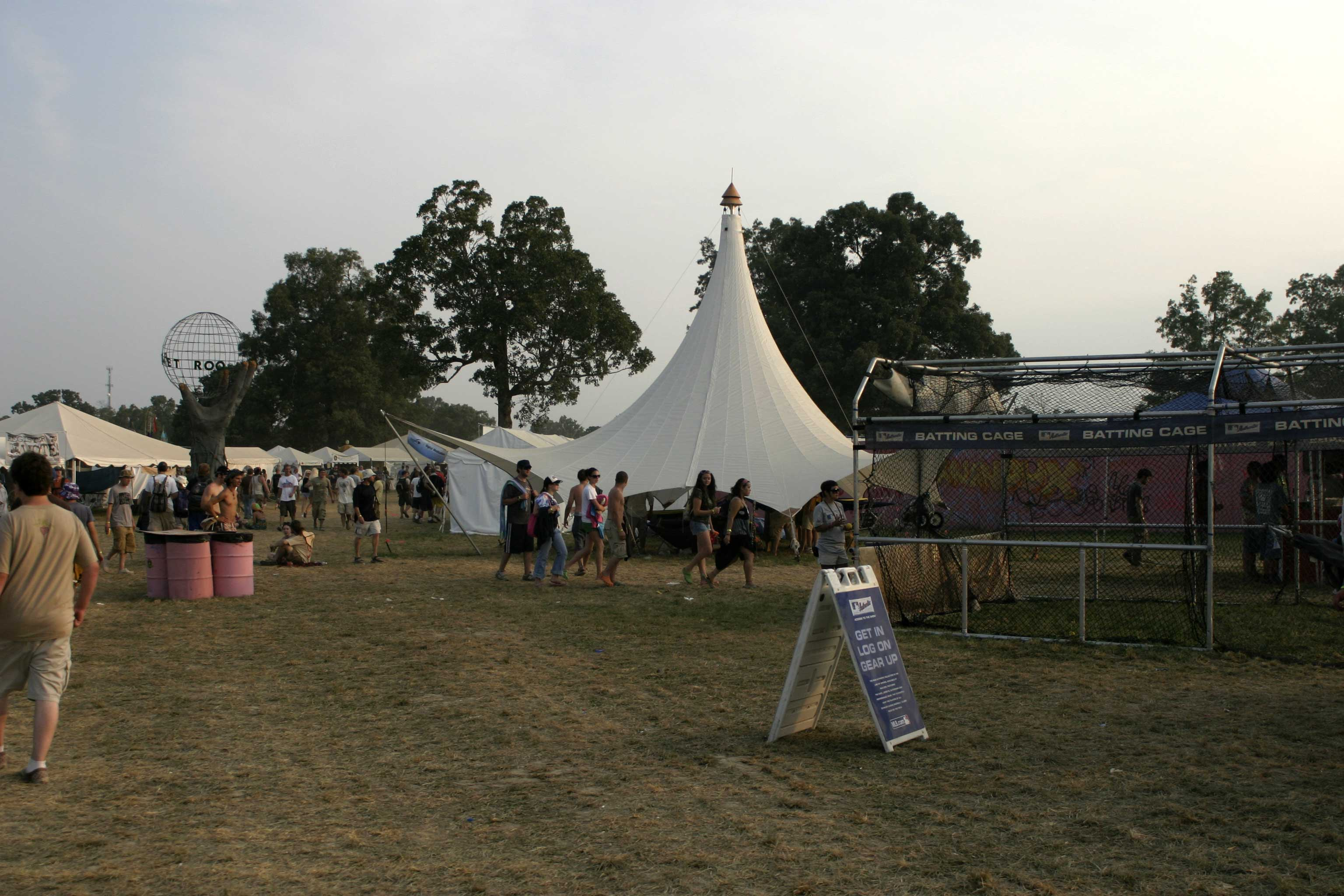"This was a setup of the smallest single-cone tent during the Bonnaroo music festival, it was used for a ""digital meditation"" installation."