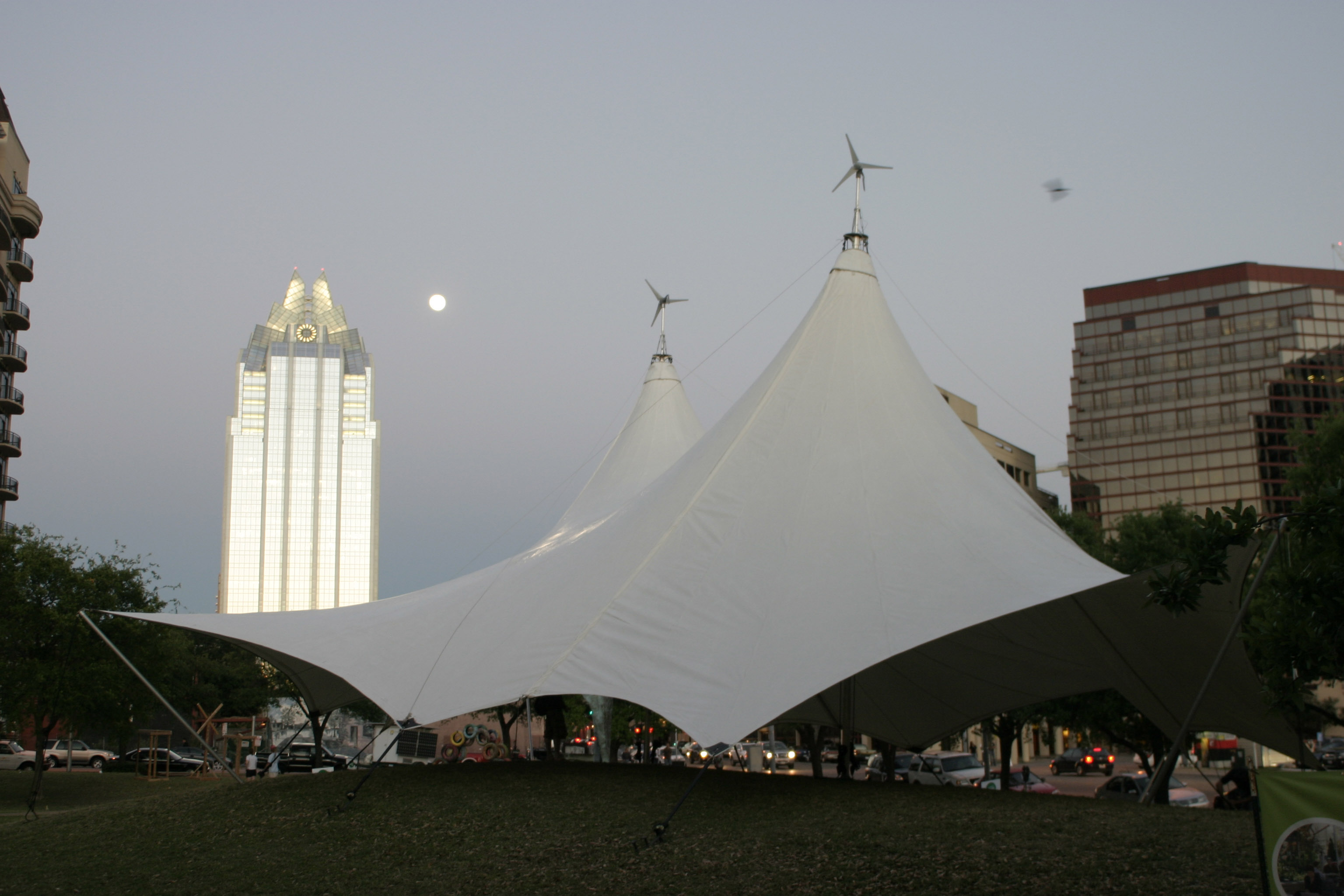 Shot of the Cordillera Blanca Grande set up in downtown Austin for Earthday