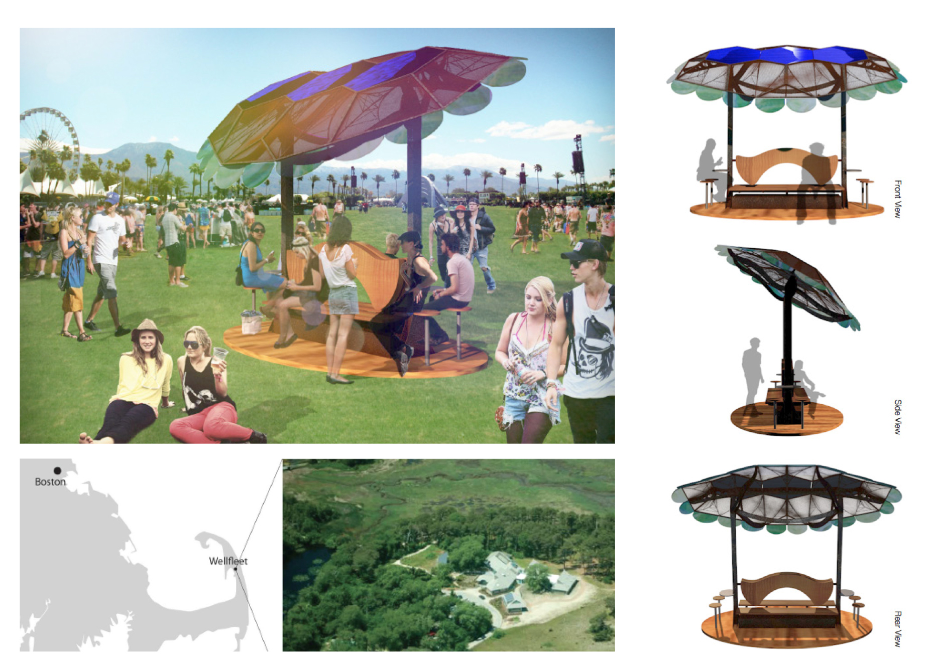 Sol Design Lab, Solar Shell, Concept for Coachella and Wellfleet Bay Wildlife Sanctuary, 2012